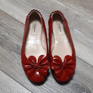 L.K. Bennett Red Poppy Flats Size 38